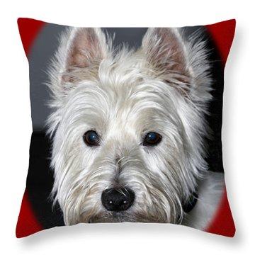Mischievous Westie Dog Throw Pillow