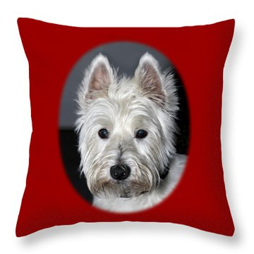 Mischievous Westie Dog Throw Pillow