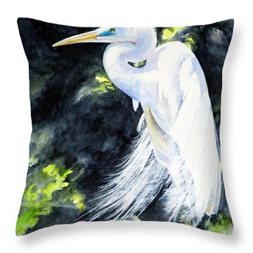 Miss April - Great Egret Throw Pillow