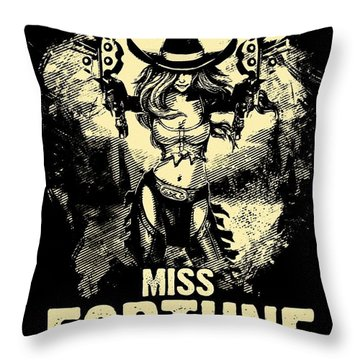 Miss Fortune - Vintage Comic Line Art Style Throw Pillow