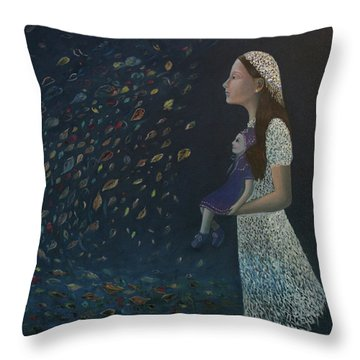 Miss Frost Watching The Autumn Dance Throw Pillow