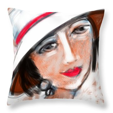 Miss Mary Throw Pillow by Elaine Lanoue