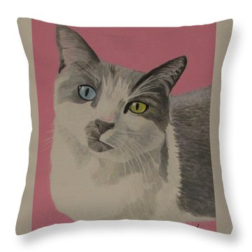 Throw Pillow featuring the painting Miss Pretty Kittie by Hilda and Jose Garrancho