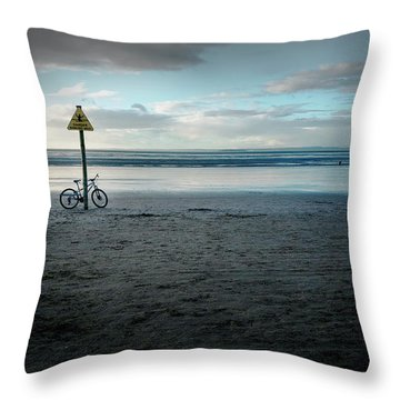 Missing Cyclist Throw Pillow