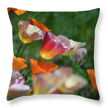 Mission Bell Poppies Throw Pillow