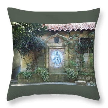 Mission Carmel Court Yard Throw Pillow