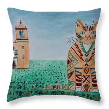 Mission Concepcion Cat Throw Pillow