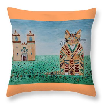 Mission Concepcion Cat Throw Pillow