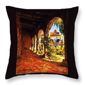 Mission Corridor San Juan Capistrano Throw Pillow by Pg Reproductions