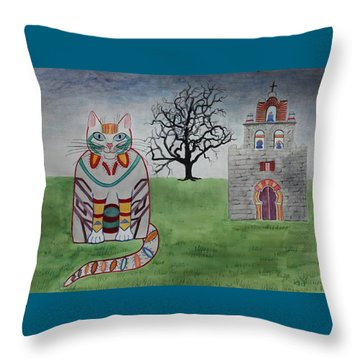 Mission Espada Cat Throw Pillow