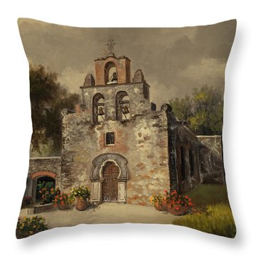 Throw Pillow featuring the painting Mission Espada by Kyle Wood