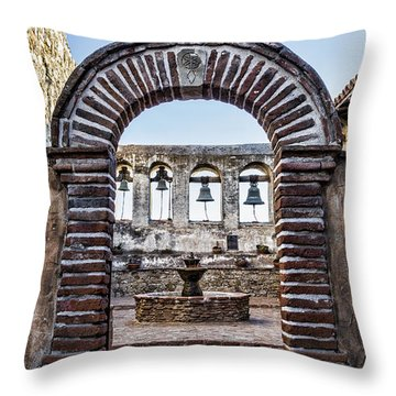 Mission Gate And Bells Throw Pillow
