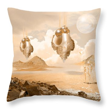 Mission In A Far Planet Throw Pillow