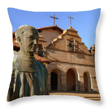 Mission San Antonio And Father Serra Throw Pillow