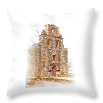 Throw Pillow featuring the photograph Mission San Francisco De La Espada In Faux Pencil Drawing  by David and Carol Kelly