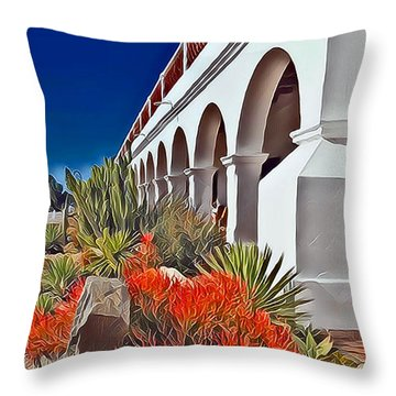 Mission San Luis Rey Garden Throw Pillow