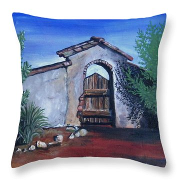 Throw Pillow featuring the painting Rustic Charm by Mary Ellen Frazee