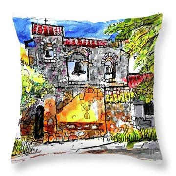 Throw Pillow featuring the painting Mission San Miguel by Terry Banderas