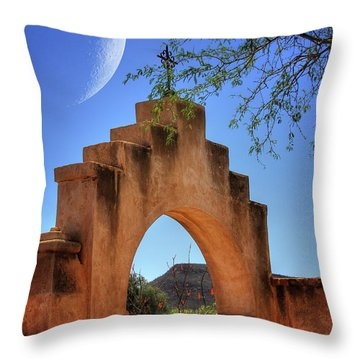 Mission San Xavier Del Bac Throw Pillow by Lois Bryan