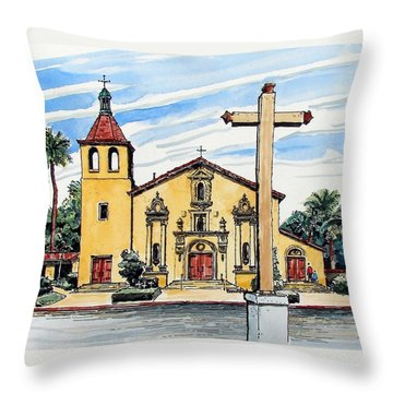 Throw Pillow featuring the painting Mission Santa Clara De Asis by Terry Banderas