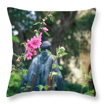 Mission Statue And Flower Throw Pillow by Kathy Yates