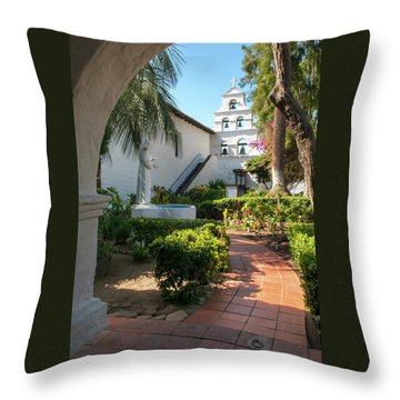 Throw Pillow featuring the photograph Mission Walk by Howard Bagley