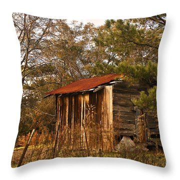 Throw Pillow featuring the photograph Mississippi Corn Crib by Tamyra Ayles