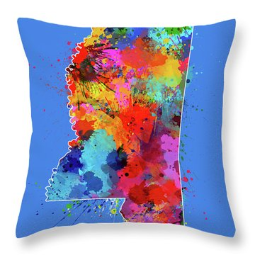 Mississippi Map Color Splatter 3 Throw Pillow