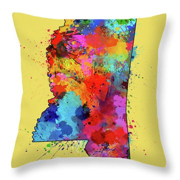 Mississippi Map Color Splatter 4 Throw Pillow