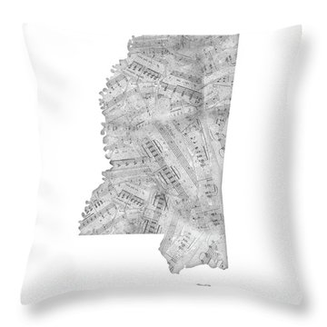 Mississippi Map Music Notes Throw Pillow