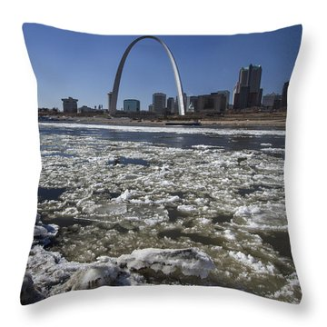Mississippi Rive In The Winter With Ice  Throw Pillow