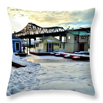 Mississippi River Boathouses Throw Pillow