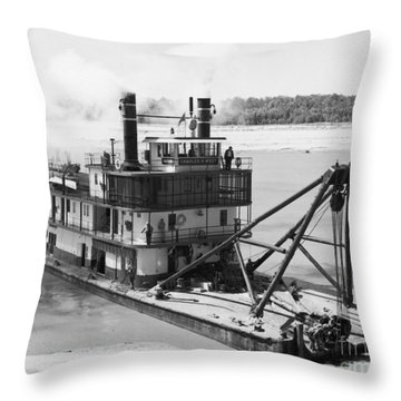 Mississippi River Snag Boat Throw Pillow by Granger