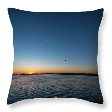 Mississippi River Sunrise Throw Pillow