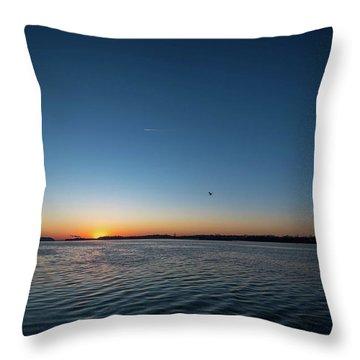 Mississippi River Sunrise Throw Pillow