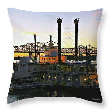 Mississippi Riverboat Sunset Throw Pillow
