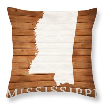 Mississippi Rustic Map On Wood Throw Pillow