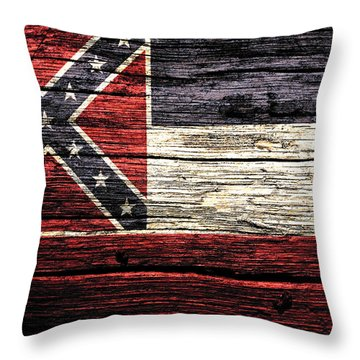 Mississippi State Flag 3w Throw Pillow