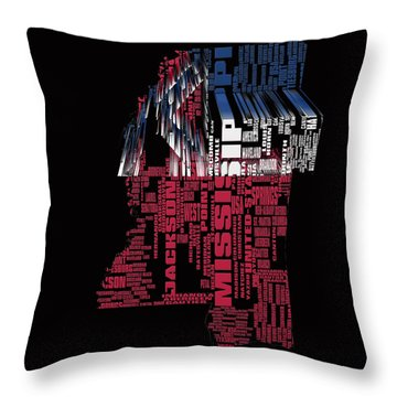 Mississippi Typographic Map 4a Throw Pillow