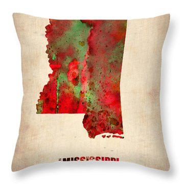 Mississippi Watercolor Map Throw Pillow by Naxart Studio