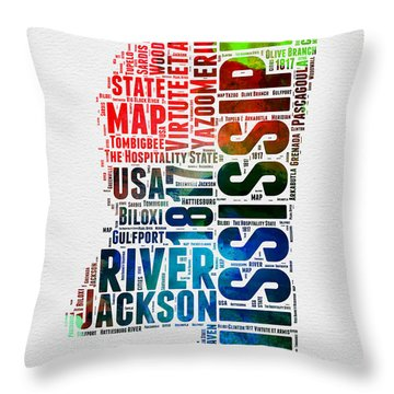 Mississippi Watercolor Word Cloud  Throw Pillow