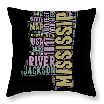 Mississippi Word Cloud 1 Throw Pillow