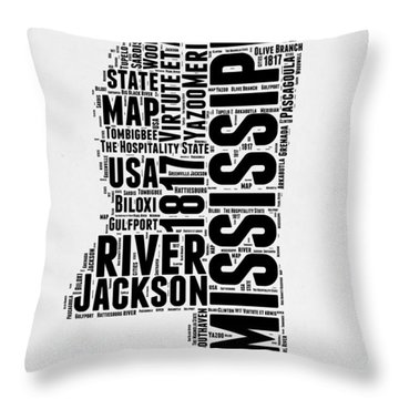 Mississippi Word Cloud 2 Throw Pillow
