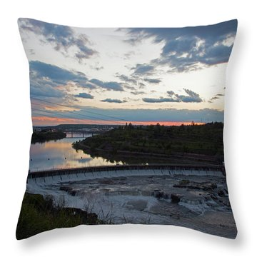 Missouri River Black Eagle Falls Mt Throw Pillow