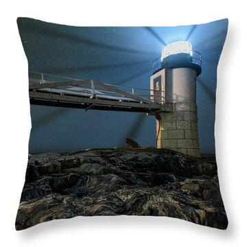 Mist At Marshall Point Light Throw Pillow