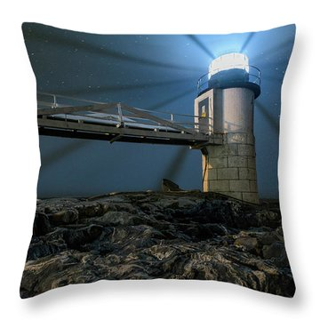 Mist At Marshall Point Light Throw Pillow