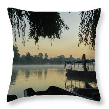 Mist Lake Silhouette Throw Pillow