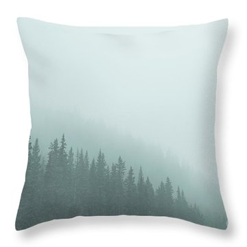 Mist On The Morning Hills Throw Pillow