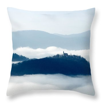 Mist Over Church Of Maria Throw Pillow