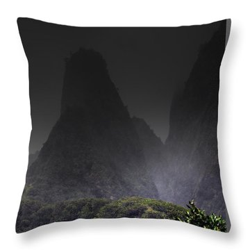 Mist Over Iao Needle Throw Pillow